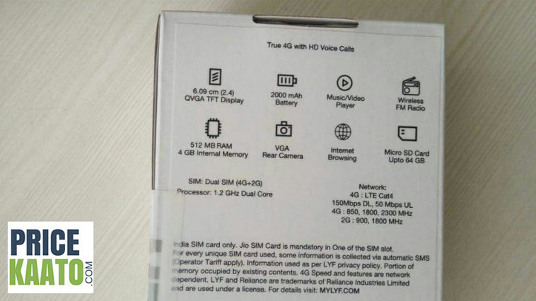 Jio Feature Phone Specification