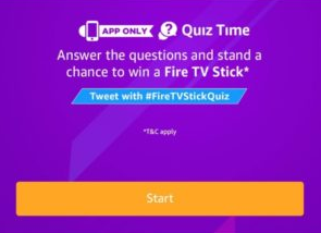 Amazon Fire TV Stick Quiz Answers Today