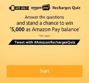 Amazon Recharges Quiz Answers Today Win Rs 5000 Pay Balance