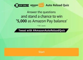 Amazon Auto Reload Quiz Answers Today