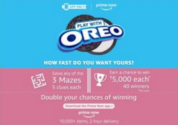 Amazon Oreo Maze Quiz Answers Today Contest Puzzle