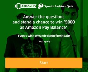 Amazon Sports Fashion Quiz Answers Today Contest