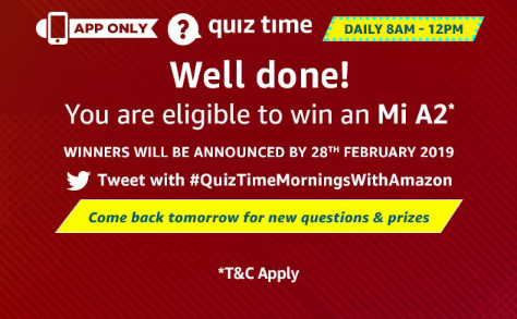 Amazon 16th January Mi A2 Quiz Answers Today