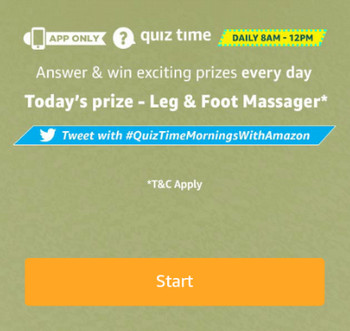 Amazon Leg And Foot Massager Quiz Answers 7th August