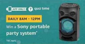 Amazon Sony Portable Party System Quiz Answers Today