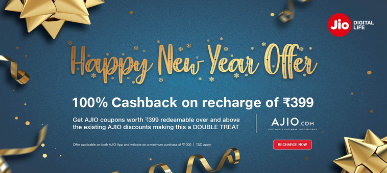 Jio Happy New Year Offer 2019 100% Cashback