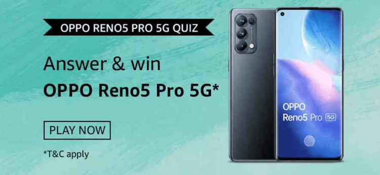 Amazon Oppo Reno5 Pro 5G Quiz Answers