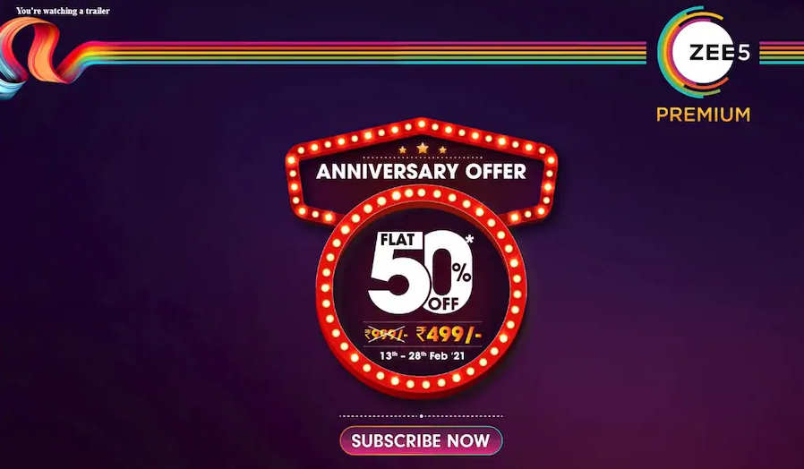 Zee5 Anniversary Offer 50% OFF Discount Annual Subscription